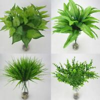 Wedding Decor Cloth Home Artificial Plant Fake Leaf Green Grass Foliage Bush ~