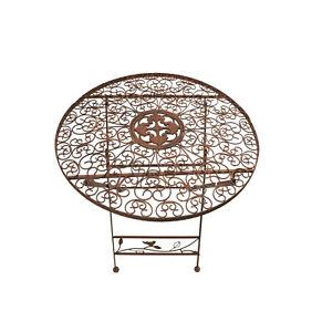 Gartentisch Klapptisch Metalltisch Tisch Metall rund braun 70 cm WK070828