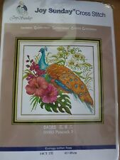 A BEAUTIFUL PEACOCK AND FLOWERS cross stitch kit 14ct size 40 x 40 cm JOY SUNDAY