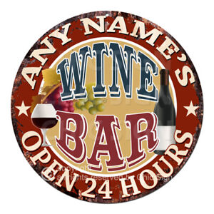 CP-0145 ANY NAME'S WINE BAR Custom Personalized Tin Sign Decor Gift ideas