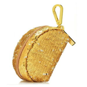 Cute Gold Sequin Coin Purse Lined Zipper Pouch Wallet w/Gold Tone Carabiner Clip