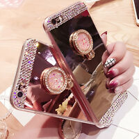 Mirror Soft Case Phone Cover Luxury Bling Diamond Crystal Ring Holder Stand
