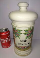 Antique GUM BENZOIN Porcelain Large Apothecary Jar Circa 1900's trees DOFFIGNY