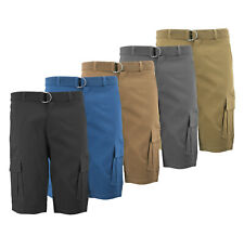 Men's Stretch Cotton Multi Utility Cargo Pockets Casual Belted Dress Shorts