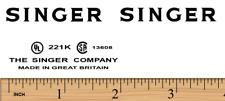 Singer Featherweight 221K Sewing Machine Restoration Decals Black Ink
