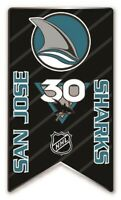 2020 - 2021  NHL SAN JOSE SHARKS 30th ANNIVERSARY PIN BANNER STYLE STANLEY CUP