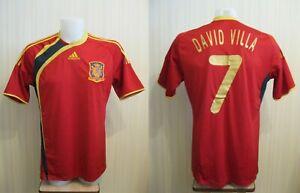Spain national team #7 David Villa 2009/2010 home Adidas Size L football shirt