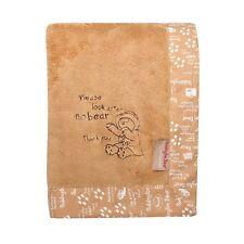 Trend Lab Paddington Bear Embroidered Soft Velour Framed Tan Boa Baby Blanket