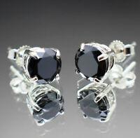Real Natural Black Diamond Stud Earrings AAA Grade Silver or Gold & $700 Value +