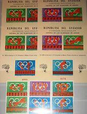 ECUADOR 1966 1262-67 Block 26-27 A-B 754-54g Olympics Mexico Ancient Art MNH