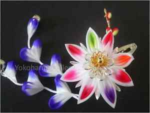 "Japanese Hand- made Maiko Geisha ""Hana"" Flower Kanzashi Hair Ornament/Clip/105"