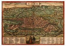 Rome Tiber Lazio Italy bird's-eye view map Braun Hogenberg ca.1572