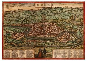 Rome Tiber Lazio Italy bird's-eye view map Braun Hogenberg ca.1572