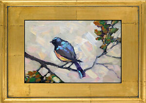 HAWKINS Original Robin Bird Branch Framed Oil Painting Impressionism Art  Signed