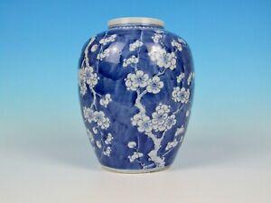 SUPERB LARGE ANTIQUE CHINESE PORCELAIN BLUE & WHITE PRUNUS GINGER JAR KANGXI INT