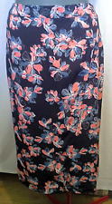 Ladies Womens Long Crossover Skirt Navy Floral Resort A-Line Katies Size 14 BNWT