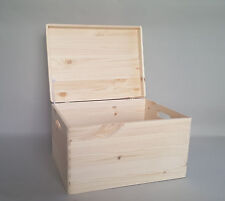 Extra Large Plain Wood Box Wooden Chest Storage Decoupage Craft Handles Lid x1