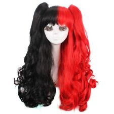 Harley Quinn Wig Black And Red Curly Cosplay Wigs + Clip Ponytails + Wig Cap
