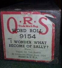 1924 QRS Word Roll #9154-455 I WONDER WHAT BECAME OF SALLY? Waltz - Ted Baxter