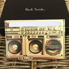 PAUL SMITH Men's Black Leather 'Boom Box' Print Credit Card Holder
