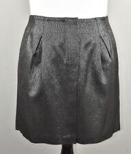 Vince Women's Black Metallic Pleated Mini Skirt Size 10 NEW $225