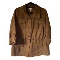 Chicos Womens Jacket Brown Snaps Flap Pockets Drawstring Roll Tab Sleeve Large