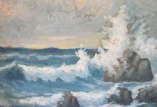 Antique impressionist seascape gouache painting