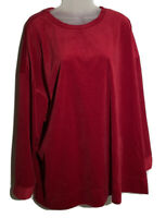 Woman Within 2X 26/28 Solid Red Velour Tunic Top Crew Neck Long Sleeve Shirt