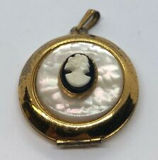 Vintage Necklace Pendant Locket Cameo Gold Tone