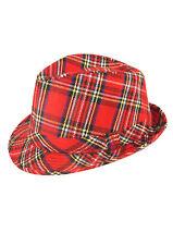 Adult Fancy Dress Costume Scottish Red Tartan Trilby Burns Night Hat Scot Punk