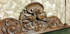 Scroll leaf wedding wood carving pediment Antique french architectural salvage