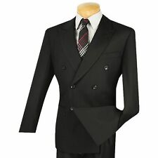 VINCI Men's Black Double Breasted 6 Button Classic Fit Suit NEW