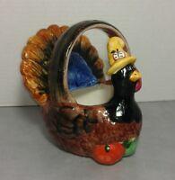 WCL Ceramic Turkey Thanksgiving Planter Dish Centerpiece Vintage @ 6 Inches
