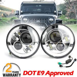 "Pair 7"" Inch Round LED Headlights Chrome headlamp For Jeep Wrangler JK LJ TJ CJ"