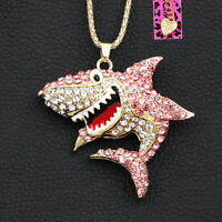 Betsey Johnson Women's Enamel Crystal Cute Shark Pendant Chain Necklace Gift