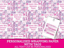 Personalised Happy 18th Birthday Wrapping paper - Pink 18th Gift Wrap