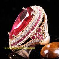 TURKISH JEWELRY 925 SILVER HANDMADE RED RUBY GEMSTONE WOMAN LADIES RING USA
