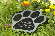 Pet Memorial Plaque - Paw Shape Black Granite - Personalised & Made to order