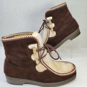 Vintage 1970/'s Brown Vegan Faux Leather Man Made Material Faux Sherpa Lined Tall  Winter /& Snow Boots Women/'s size 7--Made in the USA