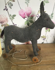 Loveable Steiff Very Old Felt Donkey On Wheels 13 Inch Vintage UK ONLY