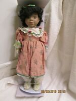 """1991 Brinn's Collectible Porcelain African American Doll w/Stand #9NM2686 14"""""""