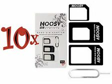 10xNOOSY 4 IN 1 Pack Nano To Micro & Standard Sim Card Adapter For Mobile Phones