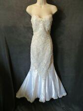 Demetrios Vintage White Satin Sequin Lace Strapless Mermaid Wedding Dress Bolero