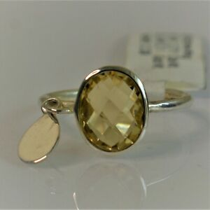 FACETED YELLOW CITRINE GEMSTONE 925 STERLING SILVER JEWELRY RING 3 TO 12