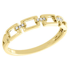 Link Stackable Right Hand Ring 0.03 Ct. 10K Yellow Gold Pave Set Diamond Chain