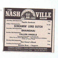SCREAMIN LORD SUTCH - NASHVILLE ROOM press clipping 1976 10x8cm (18/09/76)