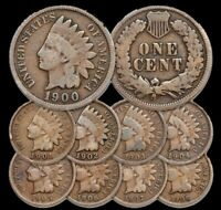 1900-1908 1c Indian Head Cent Penny Set Lot , All 9 Coins , Circulated