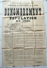 Affiche ancienne DENOMBREMENT DE LA POPULATION EN 1926 Recensement Placard Avis