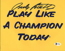 Notre Dame Rudy Ruettiger Signed 8x10 Play Like A Champion Today Photo BAS 1