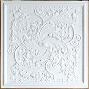 Ceiling tiles Faux tin white matt decor  Enchase bar saloon wall panel PL62